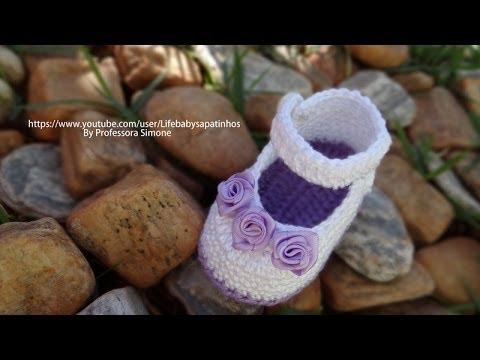 Passo a passo Sapatinho de Crochê para Bebê modelo Daminha