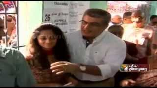 Actor Ajith Kumar Cast his vote with his wife Shalini AjithKumar