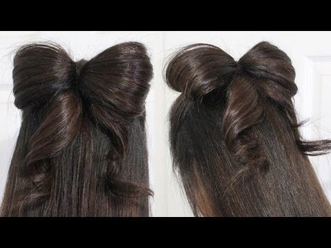 Hair Bow Tutorial Hairstyle for Medium and Long Hair (With Ribbon)