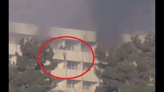 Hostages use bed sheets to flee besieged & burning Kabul Intercontinental Hotel - RUSSIATODAY