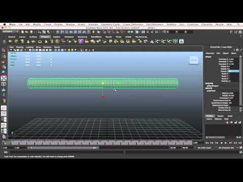 Nonlinear Bend Deformers Tool Maya 2012 (Bending Objects)
