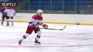 Putin at hockey practise in Sochi after judo 'injury' - RUSSIATODAY