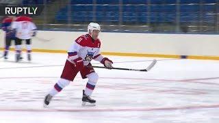 Putin at hockey practise in Sochi after judo 'injury' - RUSSIATODAY