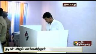 Actor Vijay Cast his vote in Adyar