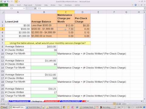 Excel 2010 Business Math 38: Calculating Checking Fees