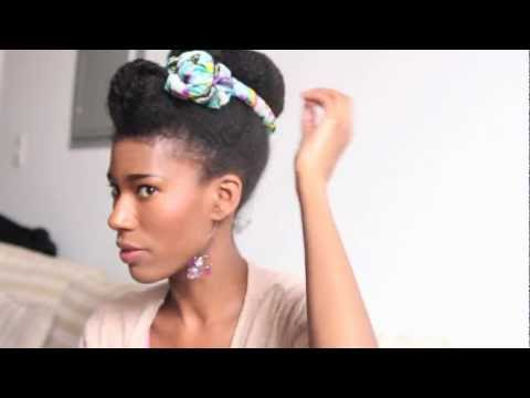 Natural Hair Bun & Scarf Tutorial