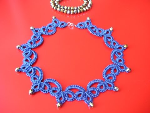 21' TUTORIAL SEMPLICE COLLANA CHIACCHIERINO AD AGO EASY NECKLACE NEEDLE TATTING