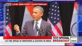 US President Barack Obama's parting address to India at the Siri Fort - FULL SPEECH - TIMESNOWONLINE