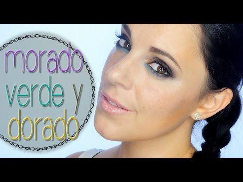 Tutorial maquillaje morado, verde y dorado intenso l Silvia Quiros
