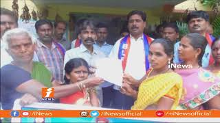 Pallipadu Village SC Colony Residents Protest at Konijerla MRO Office | Khammam | iNews - INEWS