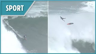 Surfers stick around after World Surf League event to ride the huge waves of Nazare - THESUNNEWSPAPER