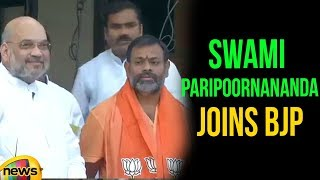 Swami Paripoornananda joins BJP in Presence of Amit Shah in New Delhi | BJP Latest News | Mango News - MANGONEWS