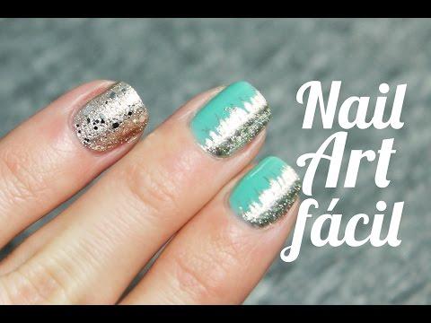 Cómo decorar tus uñas fácil y rápido con verde menta y plata | Nail Art