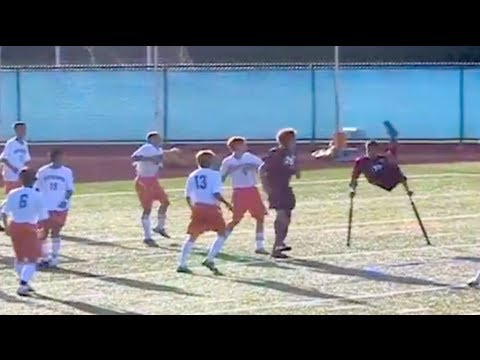 One-legged Soccer Player Scores Amazing Goal off Corner Kick!