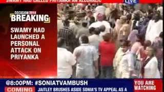 Congress leaders protest outside Subramanian Swamy's house - NEWSXLIVE
