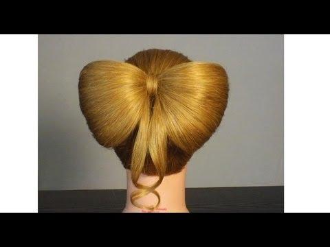 прически на средние волосы видео бантик