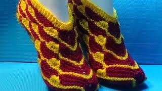 Вязание спицами домашние тапочки #81