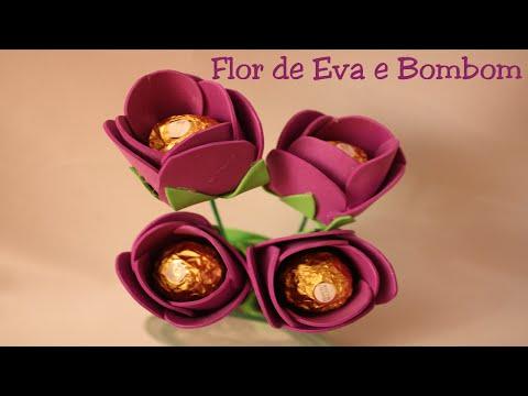 Flor de Eva com bombom - Boa dica para o Natal