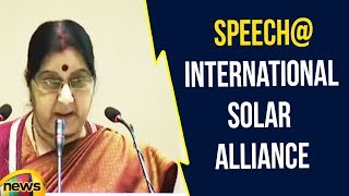 Sushma Swaraj speech at International Solar Alliance | Sushama Swaraj Latest Speech | Mango News - MANGONEWS