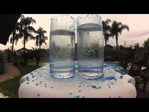 Vidro Líquido aplicado em copo de cristal (esquerdo).