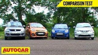 Hyundai Grand i10 Vs Toyota Liva Vs Maruti Swift Vs Ford Figo | Comparison Test | Autocar India