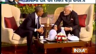 Modi, Obama hold walk the talk, chai pe charcha at Hyderabad House - INDIATV