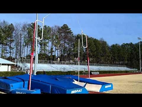 Samford University Pole Vault slow motion/regular speed