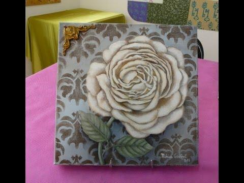 Aprende a pintar el cuadro de una rosa en acrílico