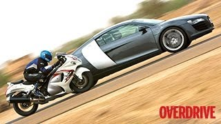 Audi R8 meets Suzuki Hayabusa in Jaisalmer