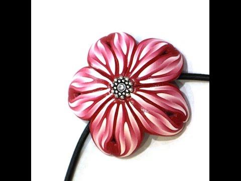 """Кулон """"Фантазийный цветок"""" из полимерной глины, своими руками"""