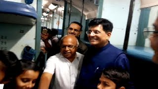 Railway minister Piyush Goyal interacts with passengers in Kaveri Express - TIMESOFINDIACHANNEL