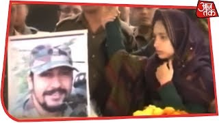 Major Dhoudiyal's Wife Bids Teary Adieu To Martyred Husband - AAJTAKTV