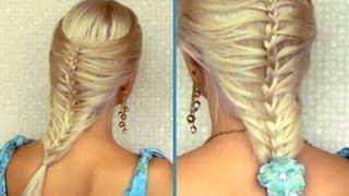 Romantic summer hairstyle for medium long hair French cage / mermaid braid tutorial