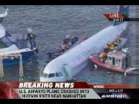 US Airways Plane Crashes Into Hudson River- Close-up Video 15th January  2009
