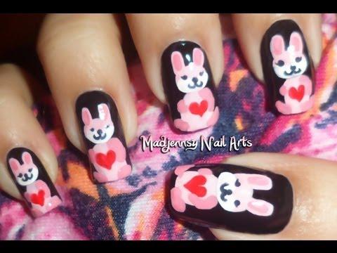 Cute Pink Bunny Nails collaboration with Honey Bee / Diseño de conejitas