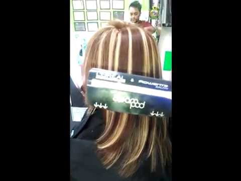 Mechas en aluminio , color hairlife ,técnica