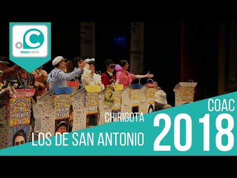 La agrupación Los de San Antonio llega al COAC 2018 en la modalidad de Chirigotas. Primera actuación de la agrupación para esta modalidad.