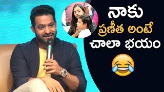 JR NTR Making Fun On His Wife Pranitha @ Celekt Mobiles Launch Press Meet | TFPC - TFPC