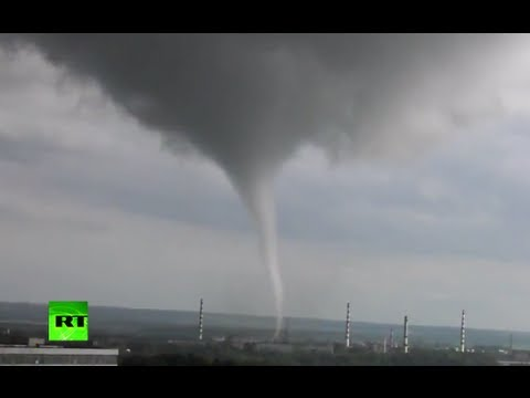Video: Waterspout passes close to nuclear power plant in Russia