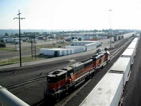 BNSF SD40-2 #2236 & GP60 B # 338 prepare to switch cars @ Yardley Yard, Spokane, WA 7/12/2012