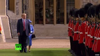 Peekaboo! Trump blocks Queen Elizabeth's way at official function - RUSSIATODAY