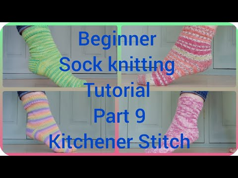 Sock knitting tutorial Kitchener Stitch toe Part 8