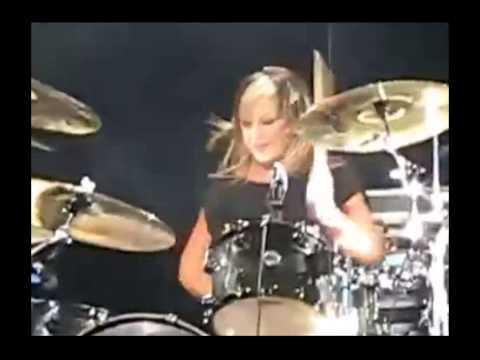Jen Ledger- World's best rock drummer! Skillet solo- hot! [HD] 2015