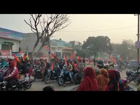 <p>बिजनौर, 13 जनवरी। उत्तर प्रदेश के बिजनौर जिले के चांदपुर शहर में अयोध्या में राम मंदिर निर्माण के लिए जागरूकता रैली निकालते विहिप के कार्यकर्ता।</p>