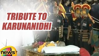 Tribute Paid to karunanidhi In Marina Beach | Last Rites of Karunanidhi | Mango News - MANGONEWS