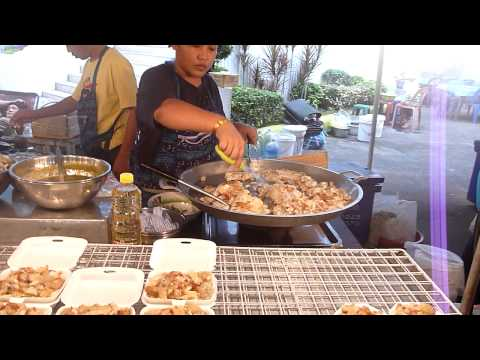 Walking through a cooked food market in Bangkok, Thailand - with Insects - 11/201