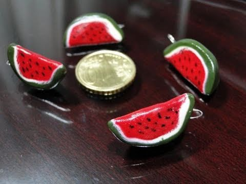 Tutorial come fare le fette di cocomero in fimo e cernit_watermelon cane polymer clay turorial.wmv
