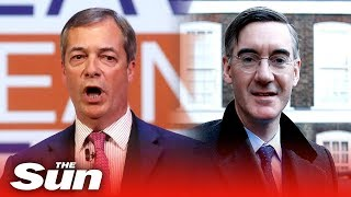 Former UKIP leader Nigel Farage and Jacob Rees-Mogg speak at the Leave Means Leave rally - THESUNNEWSPAPER
