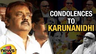 Actor Vijayakanth Paid Condolences To DMK Chief Karuanindhi | Mango News - MANGONEWS