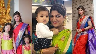 Actress Rambha Dussehra Celebration With Family - RAJSHRITELUGU